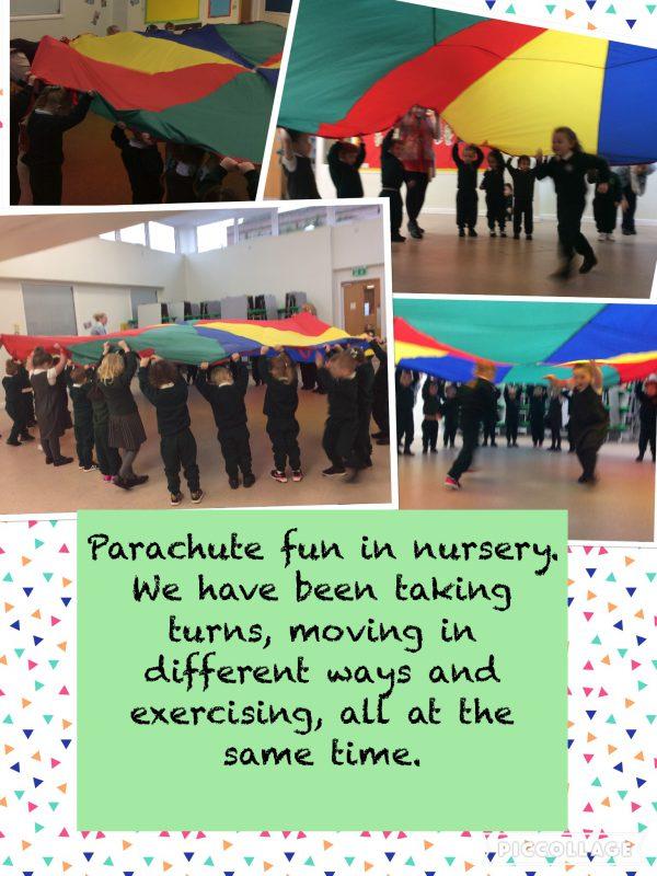 Parachute fun in nursery